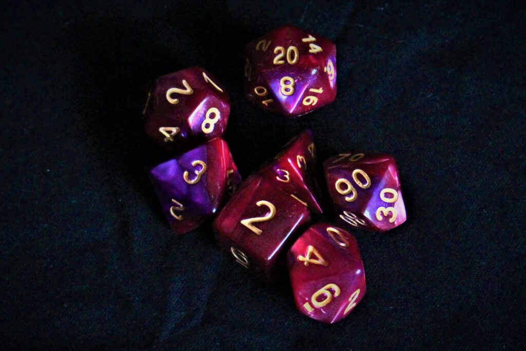 Ruby red dice set