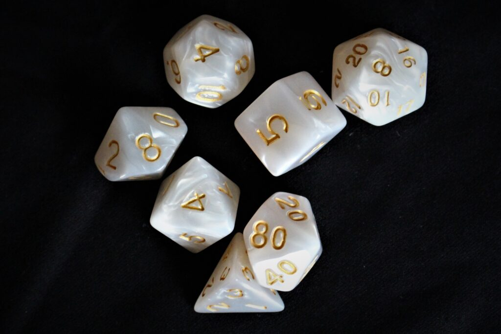 White dice set