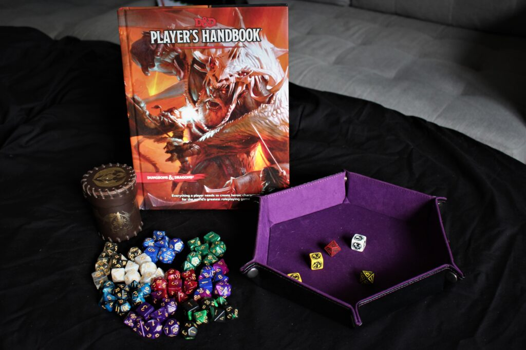 Dungeons and Dragons Player Book and Dice